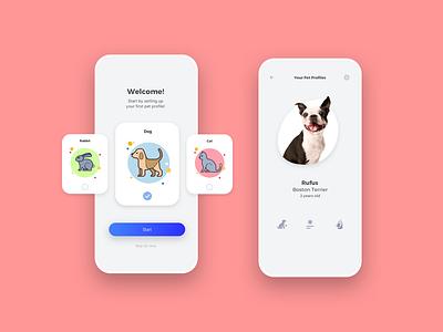 PetHealth 3D health pet dogs application ux app ui branding badge icon grid design logo