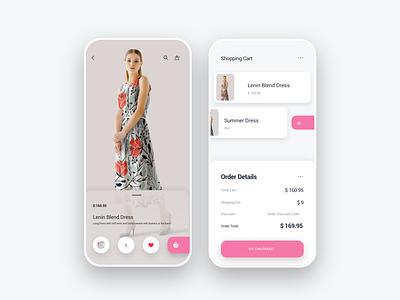 E-commerce  Screen shopping cart shopping app ecommerce app minimal grid flat animation web app ux ui icon design