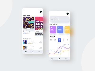 Online learning App portfolio adobexd sketch charts icons onlinelearning uidesign app design application uiux ui