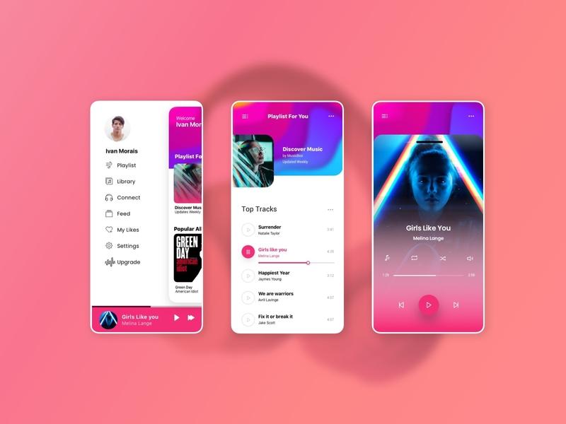 Musicbox App minimal flat web app ux branding typography icon ui grid