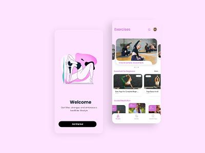 Mudra Yoga App welcome screen session yoga yoga app appdesign app trending ui design illustration branding ux ui
