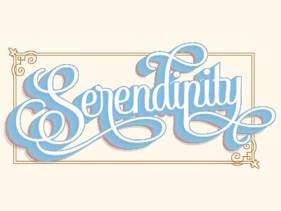 Serendipity vintage color poster lettering
