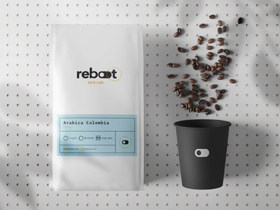 Reboot - Tech Cafe - Naming, Logo and Packaging coffee packaging packaging coffee logo cafe coffee naming design logotype logo visual identity logo design graphic design branding