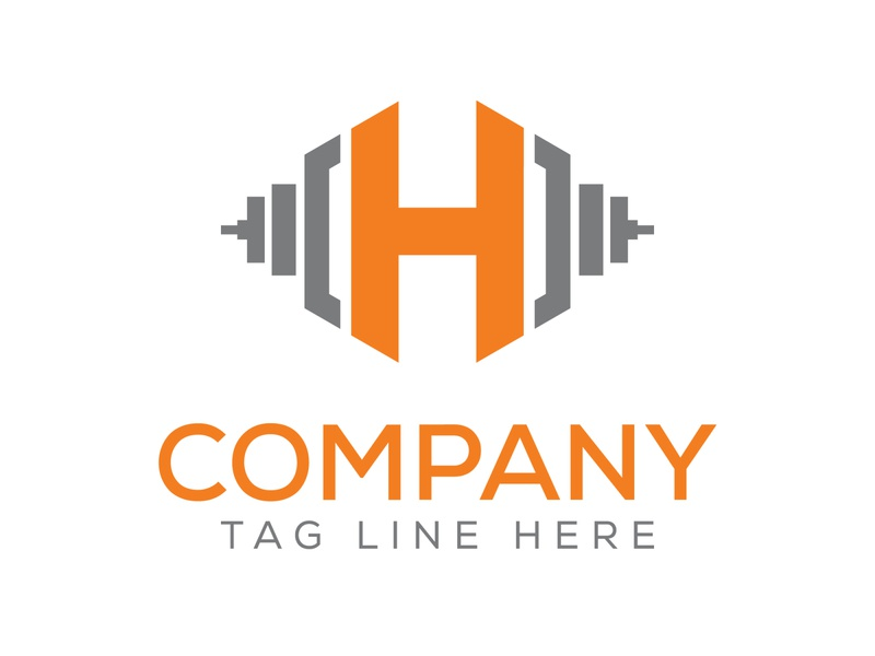 Fitness letter H logo and the gym logo. letter a and barbell com