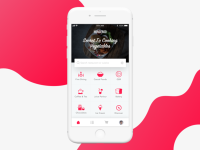 Food Ordering App - Homescreen iphone concept ui user intraface android ios food ordering app homescreen restaurant