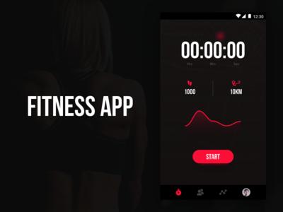Fitness App - Homescreen Design distance pedometer graph concept design ios android user interface ui homescreen fitness