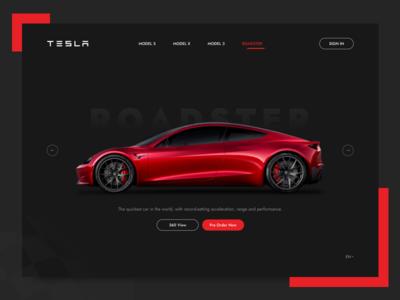 Tesla Landing Page - Concept dark ui web user interface sketch roadster concept header landing page ui tesla