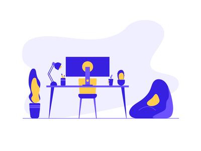 Workspace Illustration vector desk desktop computer dualtone yellow blue flat minimal workspace illsutration