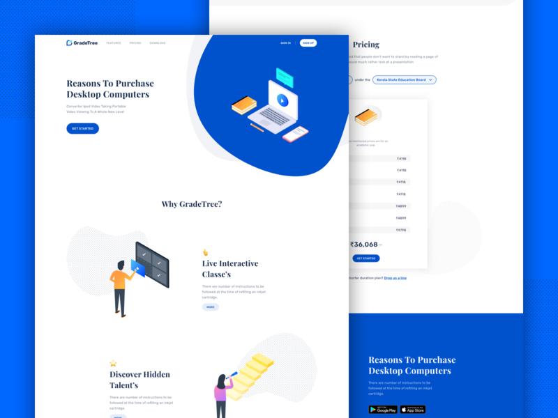 GradeTree - Marketing Website isometric ui sketch illustration user interface vector ios app android ux landing page marketing site gradetree edutech education app