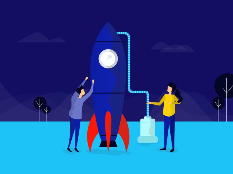 SEO Illustration fuel landscape people seo rocket app vector design landing page header user interface illustration sketch ui