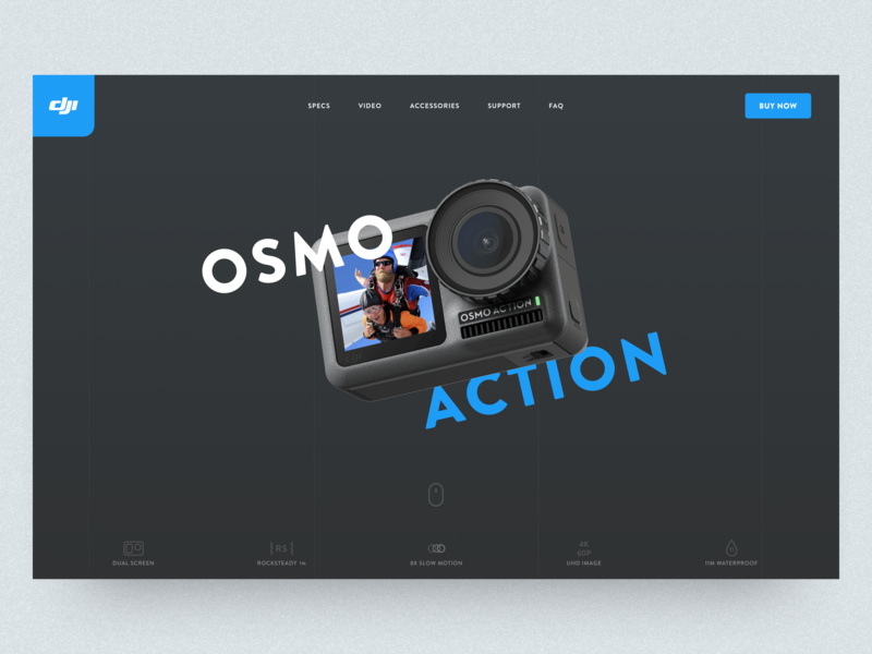 DJI Osmo Action - Product Landing Page product header concept user interface ui sketch landing page banner action camera dji