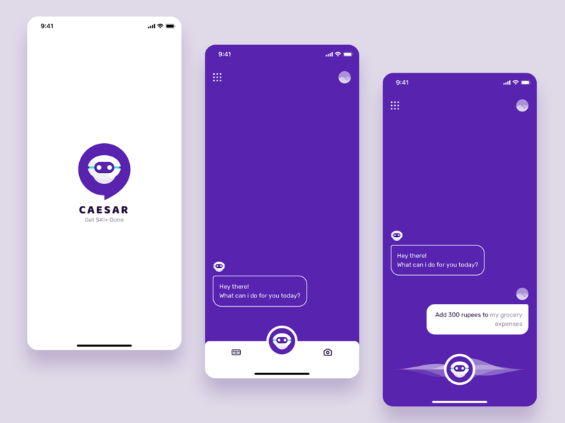 CAESAR has got your back machine learning artificial intelligence personal assistant chatbot dribbble ios android concept app user interface illustration sketch ui