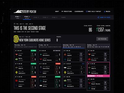 Call of Duty League Pick'em thieves faze optic dashboard esports design call of duty ui predictions esports