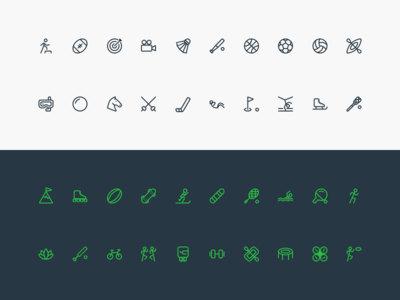 Icon Pack — Sport Activities collection vector icon design sketch flat activity sport line icons icon