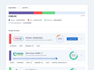 Home Management Dashboard smart home management data dashboard colors ui