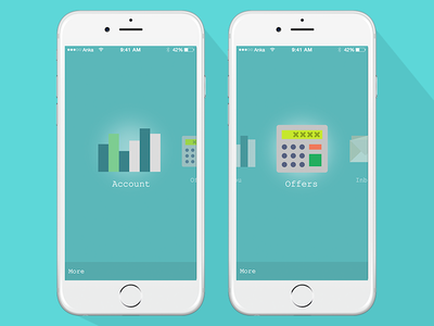 Swiping menu app bank settings render blue test icons phone ui ios iphone