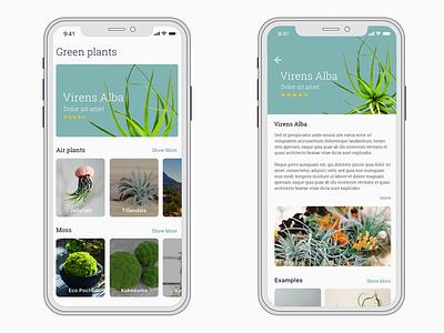 Plant shop shop x ux ui mobile iphone ios interface plant concept