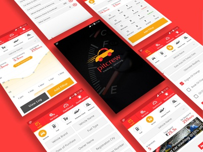 Pitcrew is a car servicing, maintenance and tracking app vector ui ux android xd design application walkthrough user interface social ios app