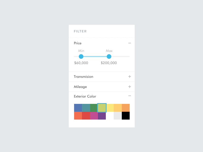 Car Filter WIP filter colors pricing accordion rainbow color picker car