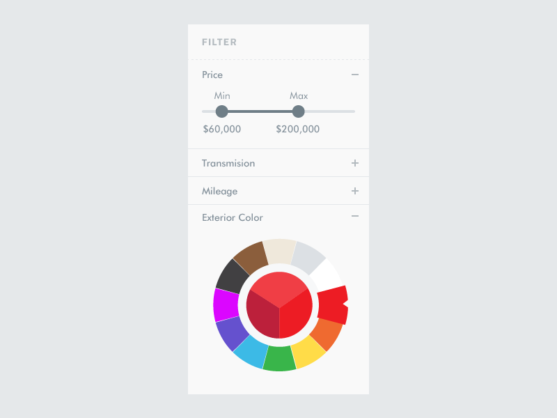 Car Fitler V2 car filter pricing color picker rainbow accordion