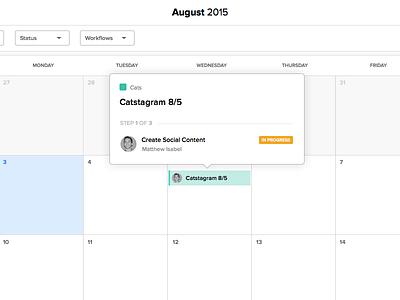 Calendar Popover task status steps ui tooltip popover calendar