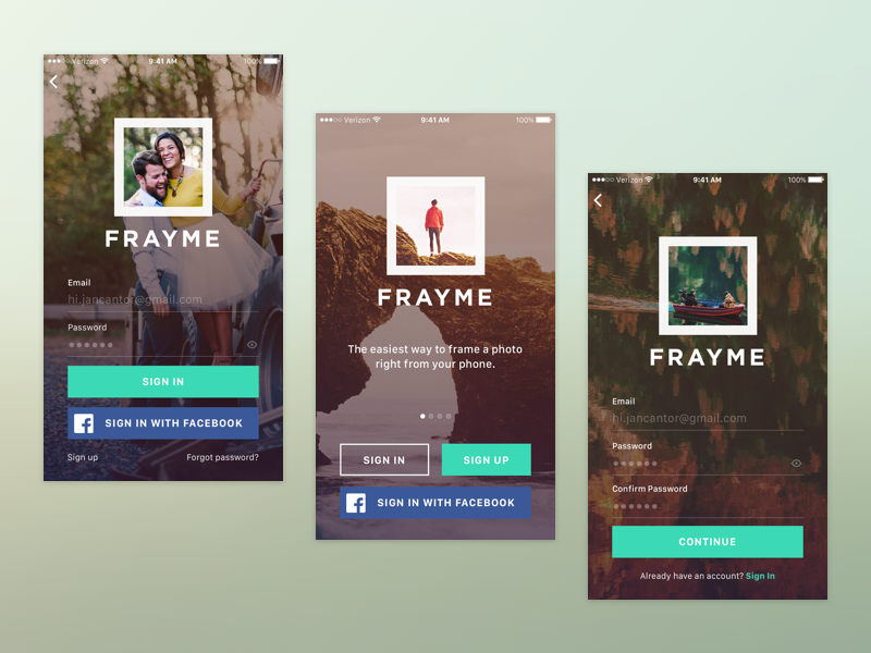 Frayme, an iPhone App Concept picture frame launch screen iphone app iphone concepts sign in with facebook sign up sign in login screen frame it frayme
