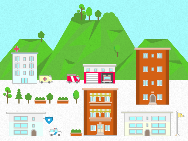 Institutional Buildings mountains pixel-perfect vector buildings