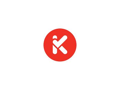 Kiddo Icon logo icon red dot k check