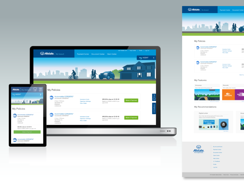Allstate My Account >> My Account Responsive Re Design By Gina Deconti Dribbble Dribbble