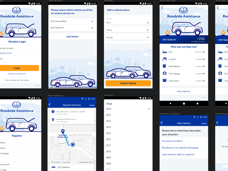 Allstate Roadside Assistance illustration design branding ux ui ios android native app