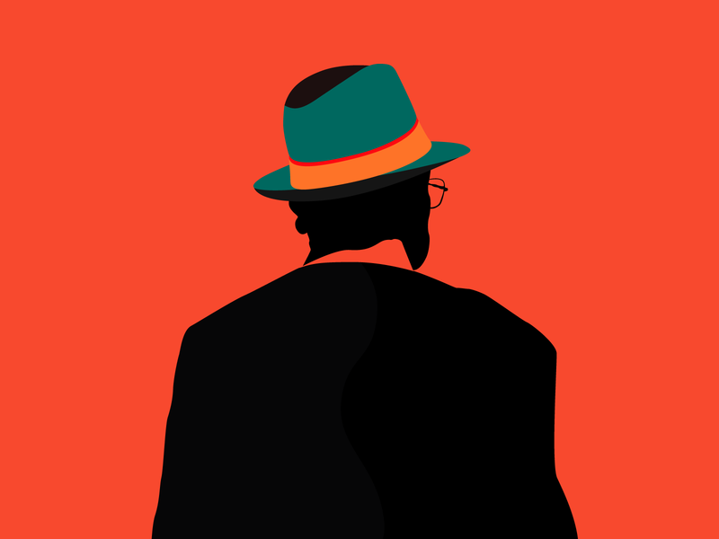 The Man With No Name flat artwork flat design modern art graphic design digital art bold and colorful bold colors man with a hat bold illustrator illustration vector art vector