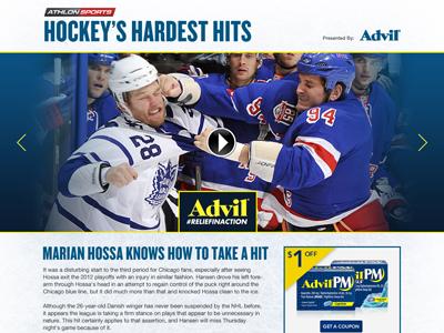 Hockey's Hardest Hits Concept Mock for Advil hockey nhl advil hardest hits