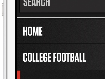 Mobile AthlonSports.com Navigation athlon sports college football mobile navigation slide out menu textured dark colors ui
