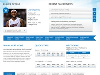 Fantasy Sports Player Profile Page
