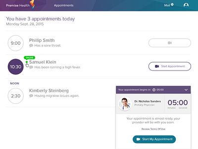 Provider Telehealth App appointments minimal design modern healthcare ui