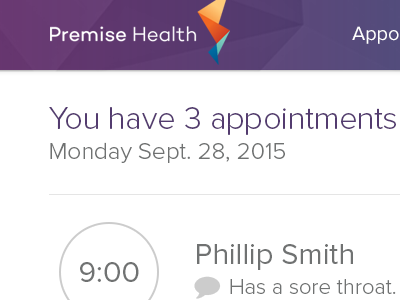 Provider Telehealth App appointments minimal design modern healthcare ui