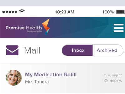 Animated Mobile Secure Message Inbox New Message healthcare design accordion interaction clean simple mailbox ui