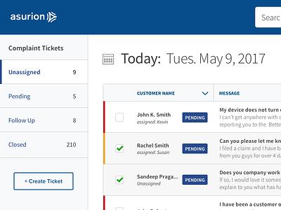 Asurion Complaints App / Ticketing UI Design grids simple ui clean custom complaints app
