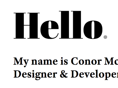 Latest portfolio typography hello black white abril serif grey