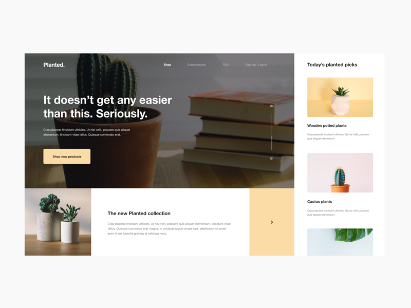 Planted Site Design Pt. 2 fun composition muted yellow bright layout web design typography ux ui icon digital website design plants website