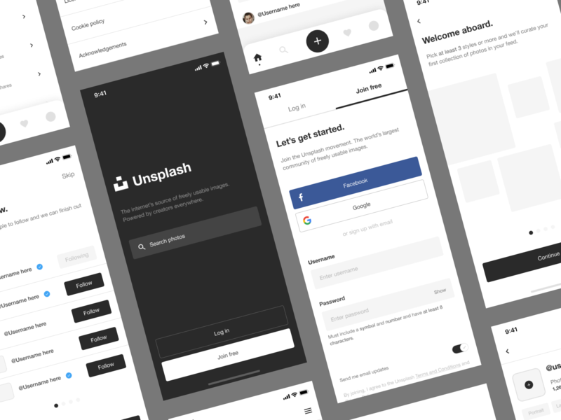 Unsplash Mobile App Concept heirarchy typography web digital screens design product grid uidesign ux ui mobile ui mobile app mobile unsplash