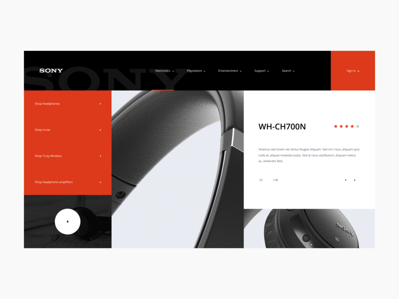 Sony Landing Page Concept ecommerce headphones brand website layout icon digital identity typography layouts grid web ux uiux ui design sony
