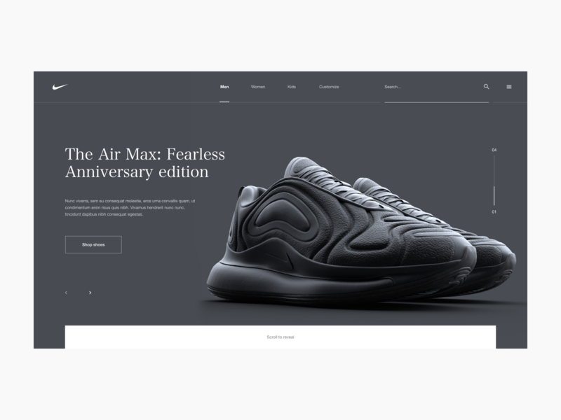 Nike Air Max Lookbook Concept Site clean interactive interaction shoes nike shoes ux ui digital menu octane substance cinema 4d 3d typography layout web website design nike air max