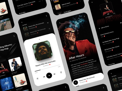 Music App minimal pause player after hours design digital ux ui grid music app music player responsive layout mobile app design the weeknd app music