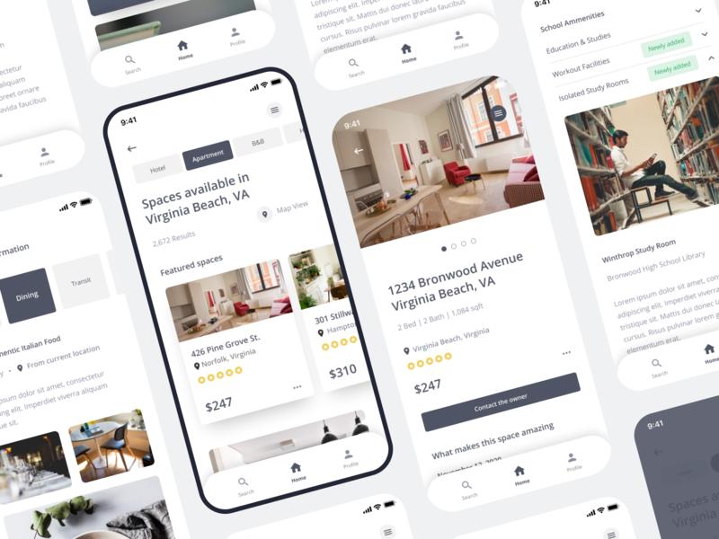 Renting App app layout typography ux ui branding design digital identity spaces hotels apartments renting rentals