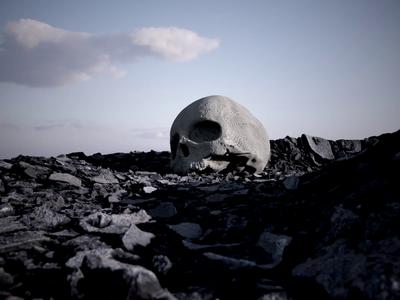Rodeo Days illustration branding identity web digital sky surreal realism design octane render cinema4d rocks travis scott skull album