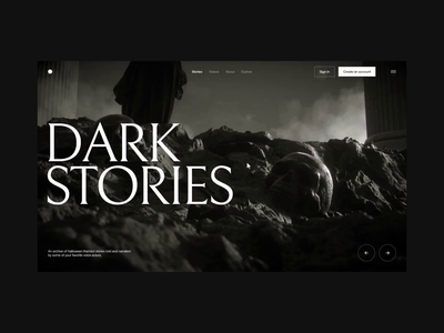 Dark Landing Intro layout web grid digital button ux ui webdesign interactive website landscape rocks columns clouds smoke statue dark