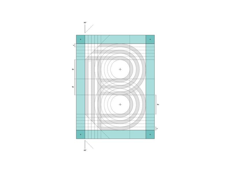 B Grid graph icon lines form identity branding brand grid monogram letter b