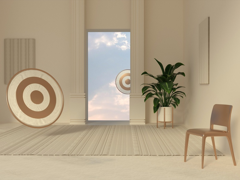 6-29-19 gold circle chair digital design redesign model landscape sky disc plant decor interior scene modeling engine octanerender octane 4d cinema 4d