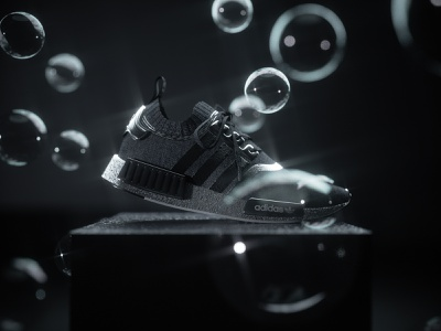 Adidas NMD digital design texture lighting laces white black still life bubbles engine octanerender octane cinema 4d model shoe nmd adidas